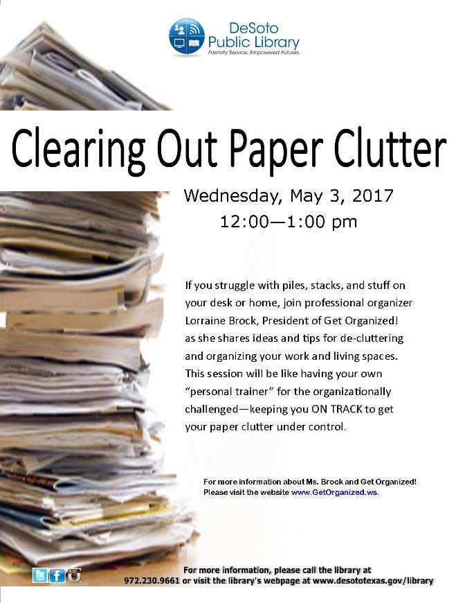 Clearing Paper Clutter May 2017 flier