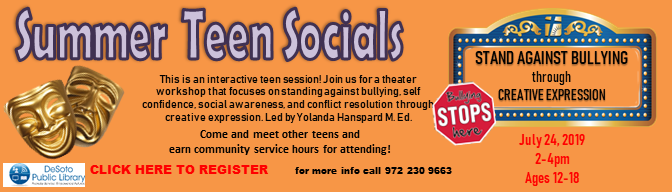 Stand Against Bullying through Creative Expression--Summer Teen Socials 2019