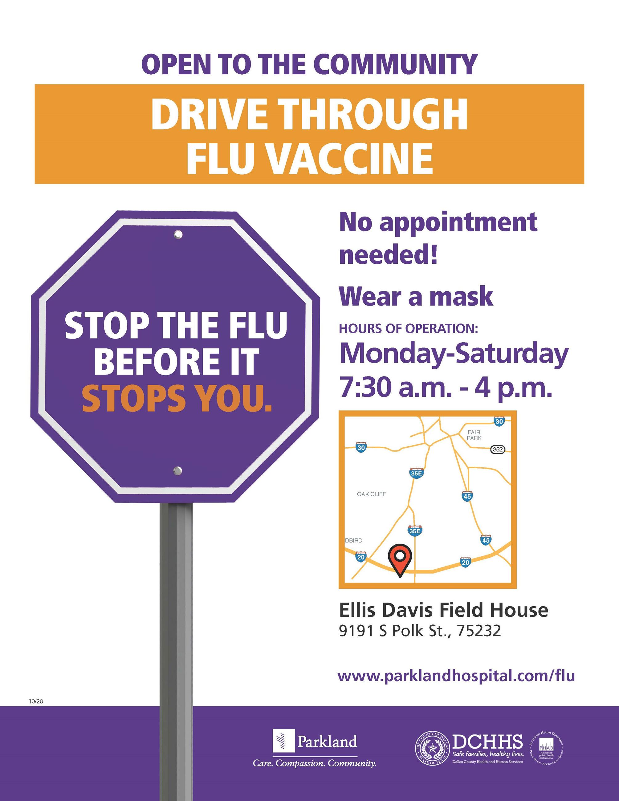 FLIER Ellis Davis Drive-Thru Flu Vaccine 092420RH ENGLISH