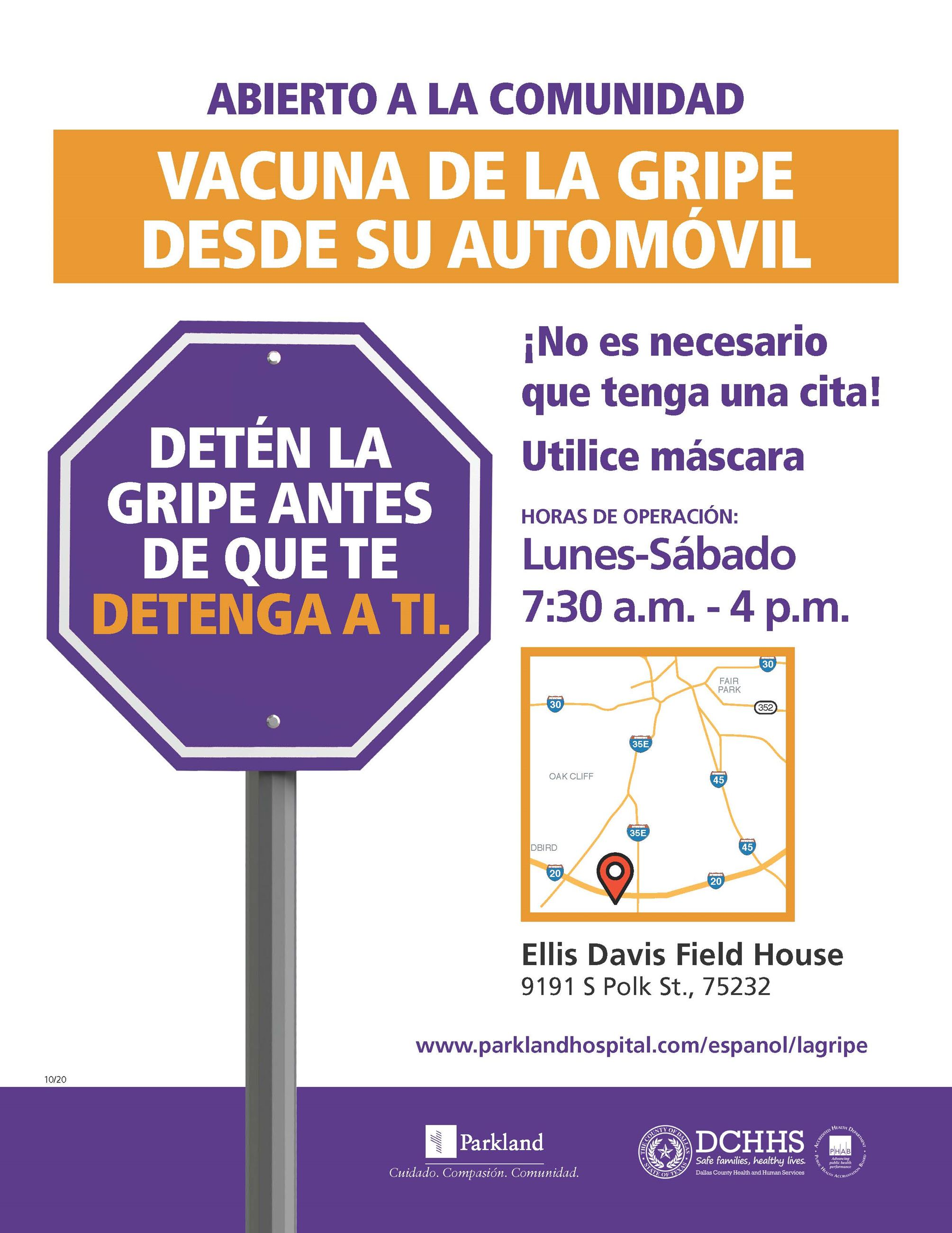 FLIER Ellis Davis Drive-Thru Flu Vaccine 092420RH SPANISH